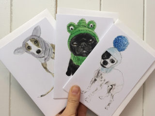 Set of 3 'Dogs in Hats' cards – Winter Woolies